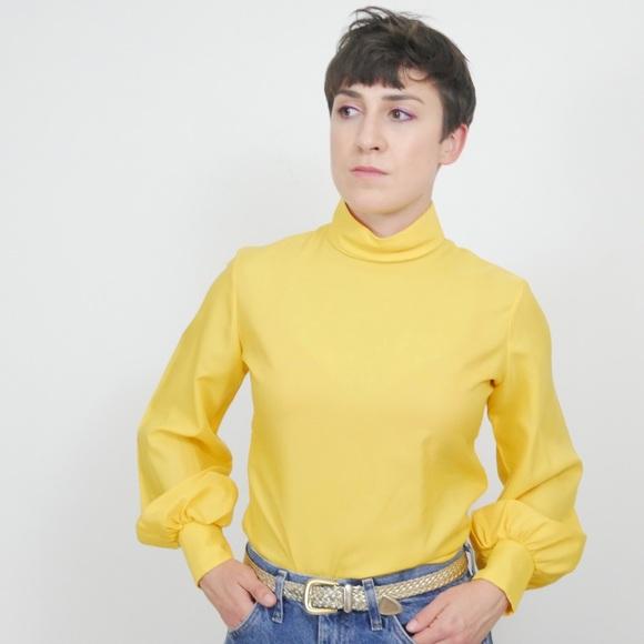 Vintage Yellow Mock Neck Balloon Sleeve Blouse